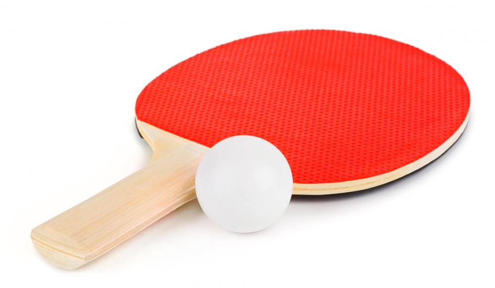 Ping pong racket and ball.