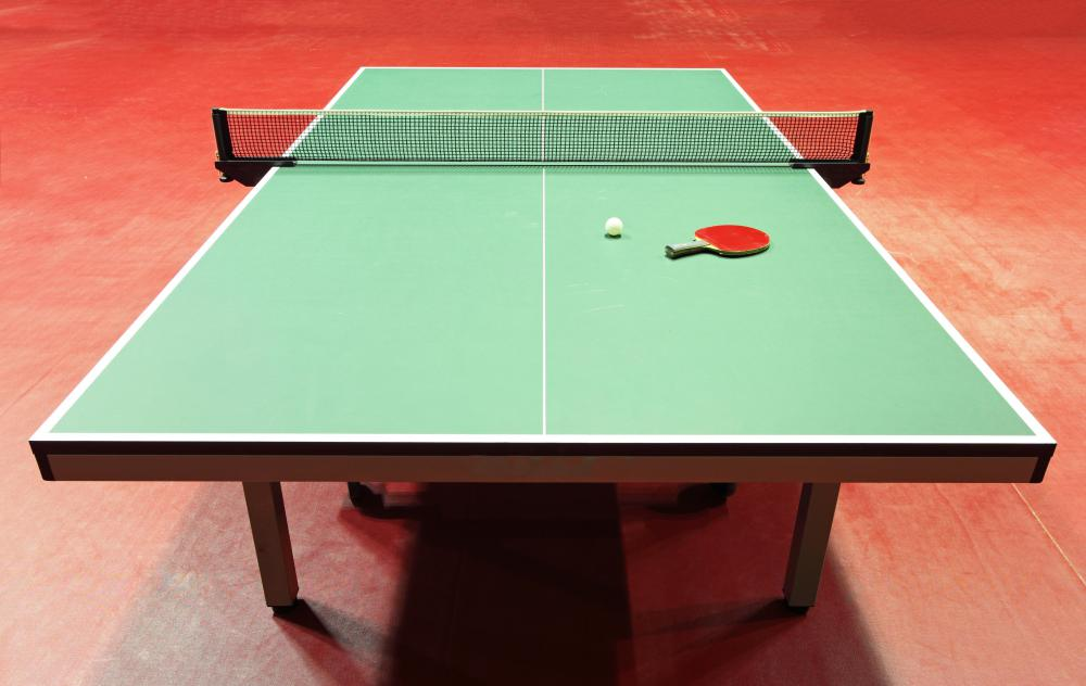 A ping pong table.