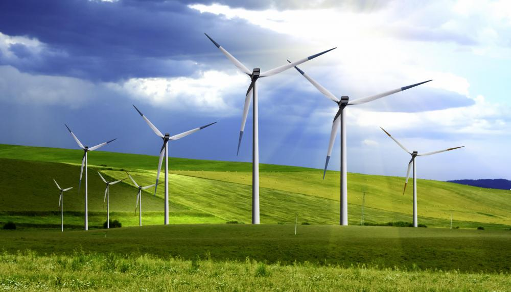 Wind farms are used to generate sustainable energy.