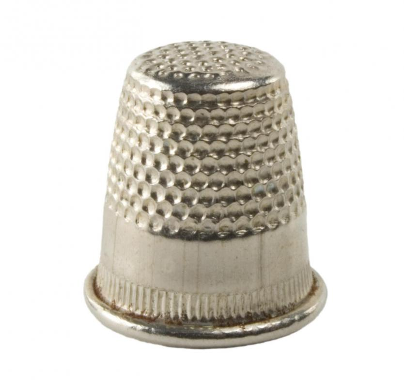 A thimble can be used to protect fingers from needle pricks when doing ribbon embroidery.
