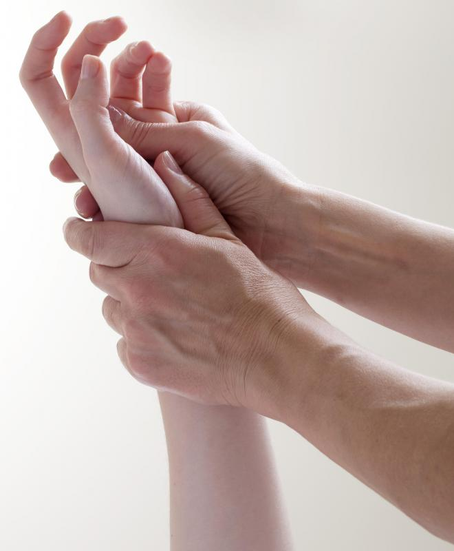 The muscles in the hand are specifically targeted in a hand massage.