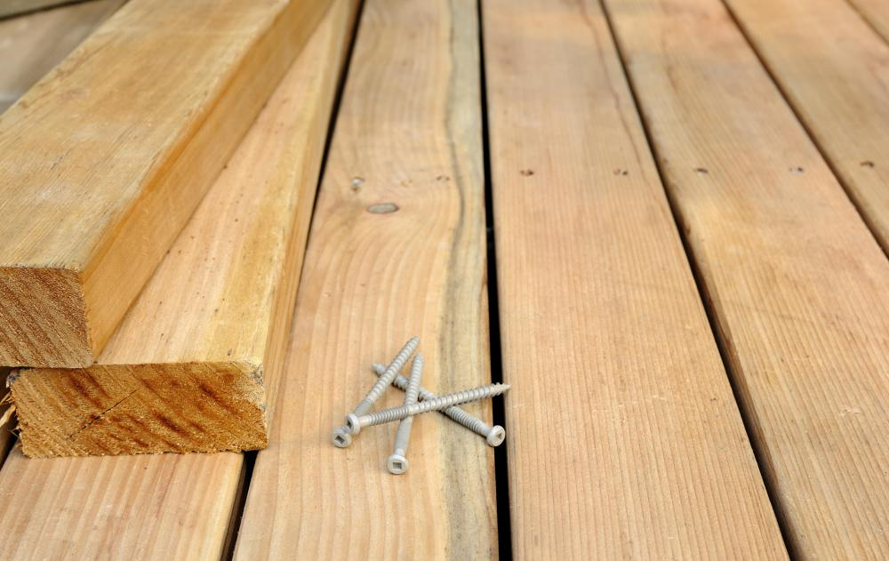 Lag screws, which have coarse threading and a hexagonal head, can be used to secure wooden planks and other materials.