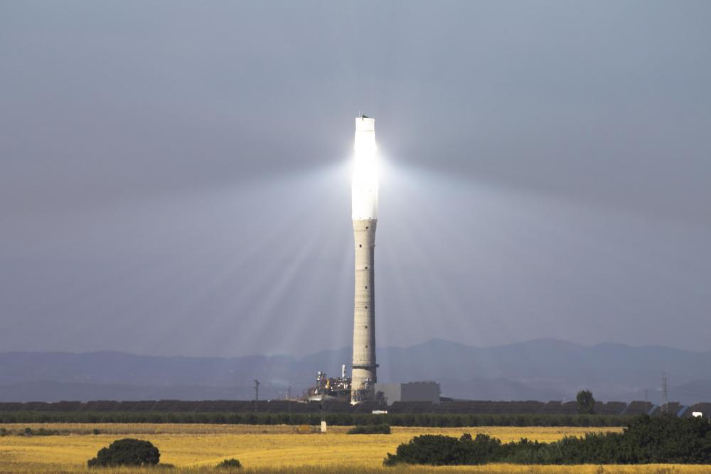 Solar thermal power plants use focused energy from the sun to drive generators.