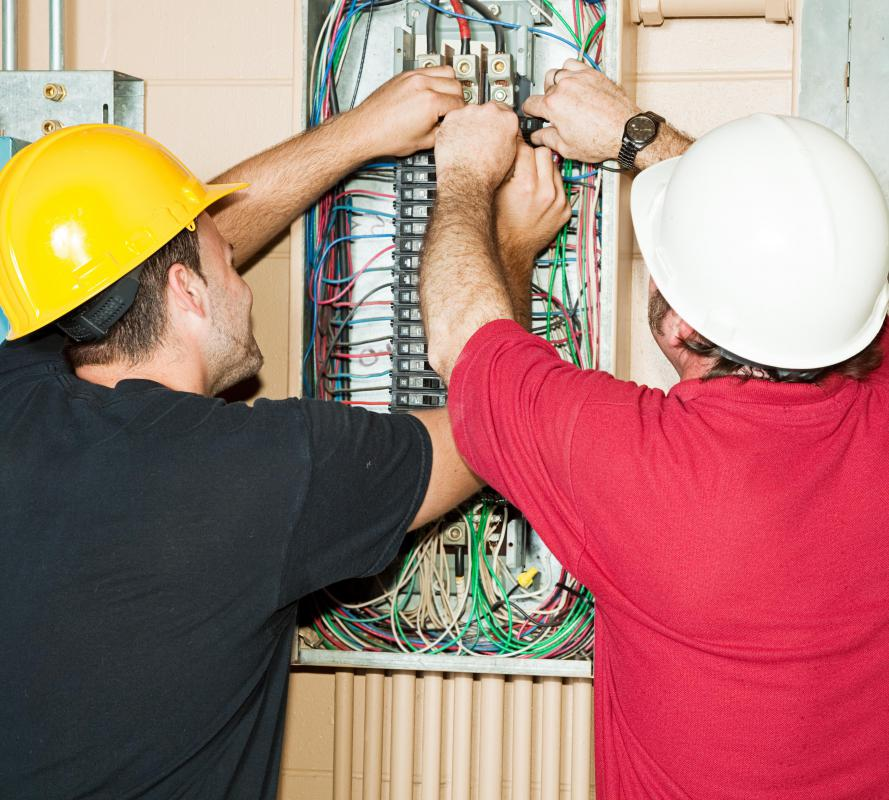Circuit breakers control the amount of amperes sent through electrical wiring.