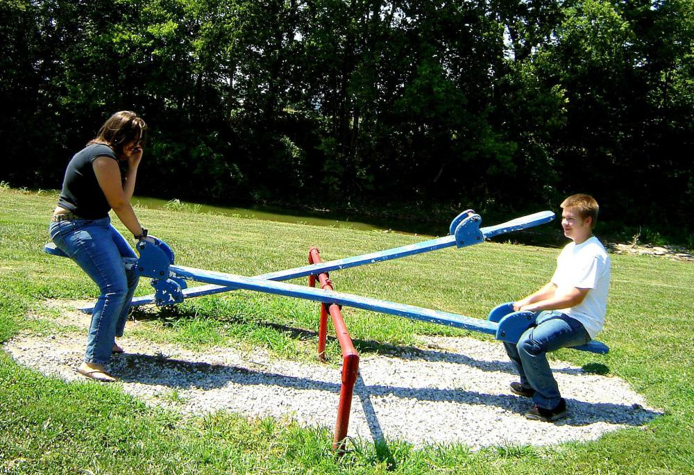 Some playgrounds feature a seesaw, or teeter-tooter.