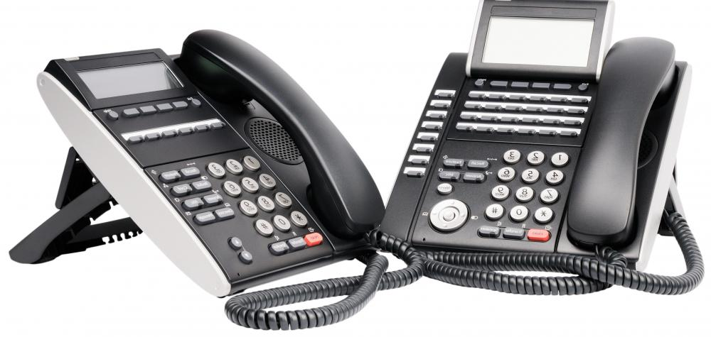 Telecommunications includes phones with conference calling features.