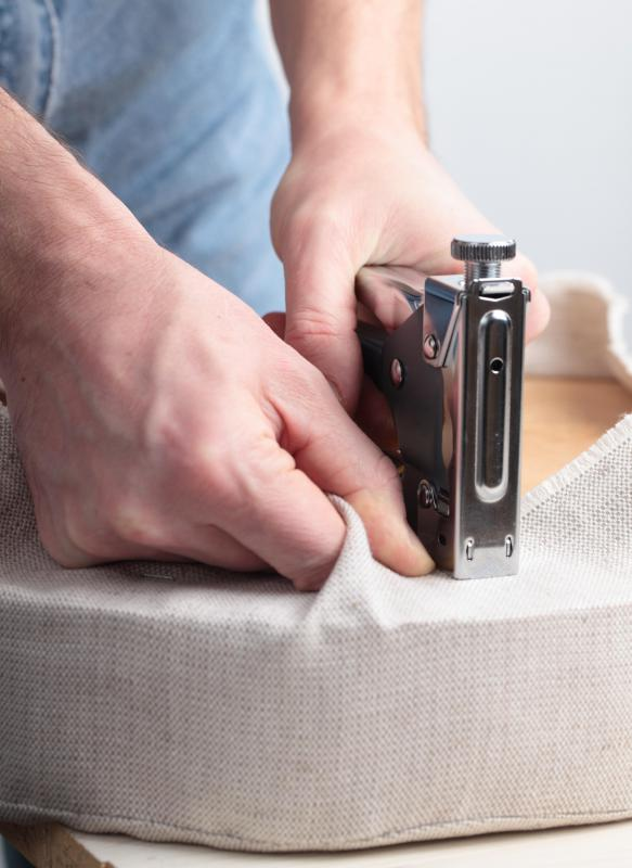 Upholstery tools include heavy-duty staple guns.