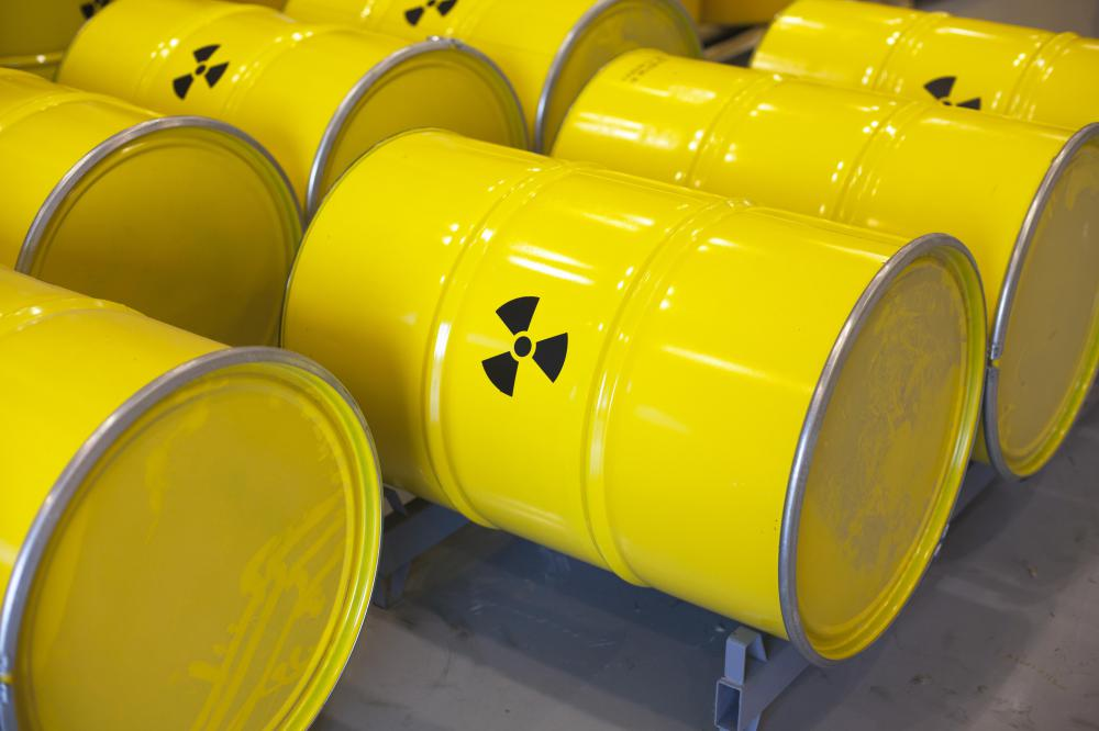 Barrels that contain uranium are stamped with the universal warning sign for radioactivity.