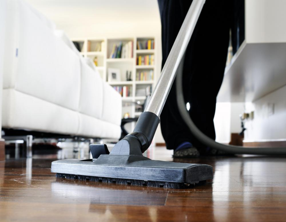 Hardwood floors can be cleaned of dust and dry objects with a vacuum.