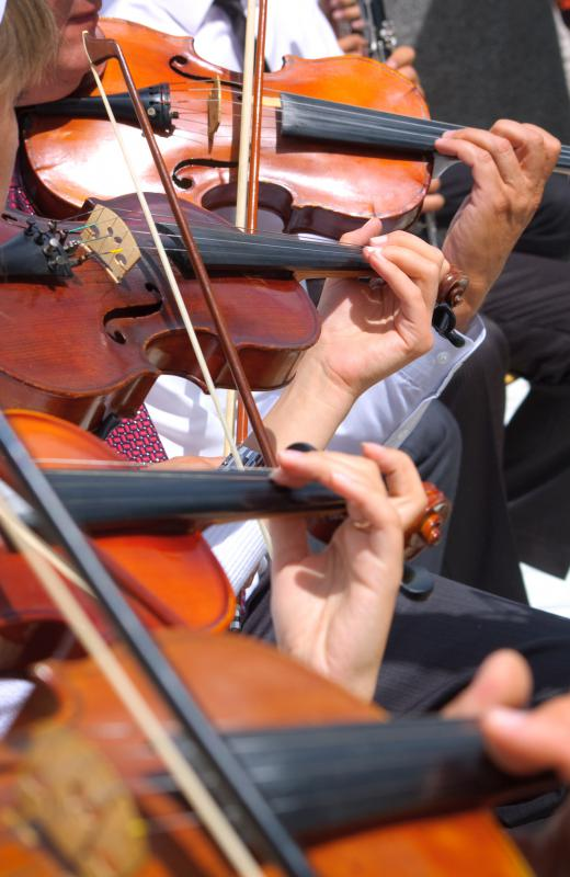 An orchestra typically plays classical music.