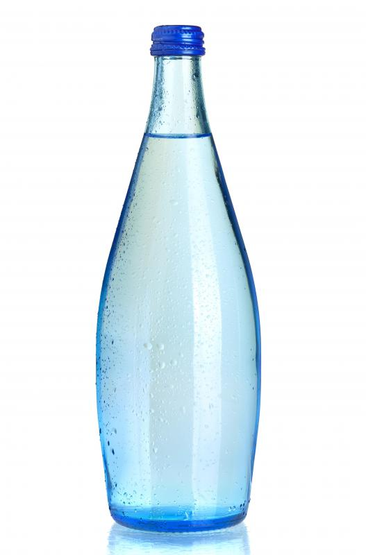 A bottle of carbonated water.