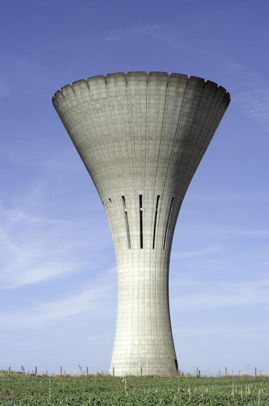 A water tower that's coated with fluoropolymer resins.