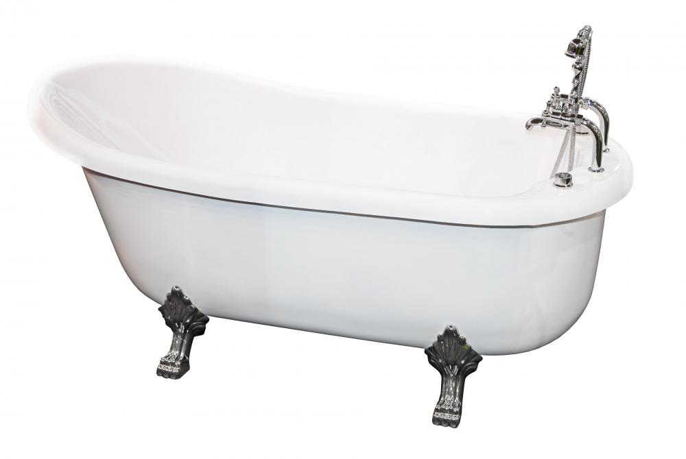 Some bathtubs have feet that hold the tub off the floor.