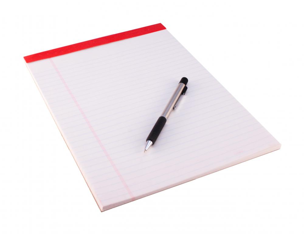 A notepad and pen are two writing tools.