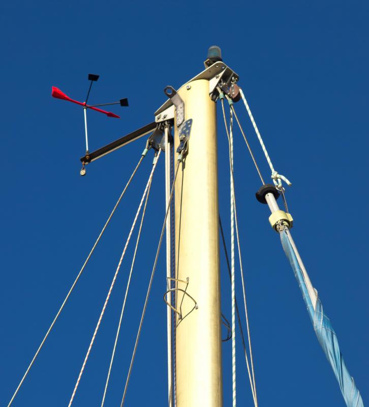A wind vane is used in sailing to help maintain course.