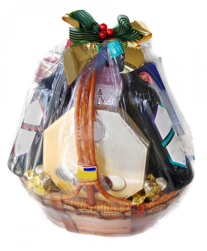 Gift baskets may be auctioned for charity.