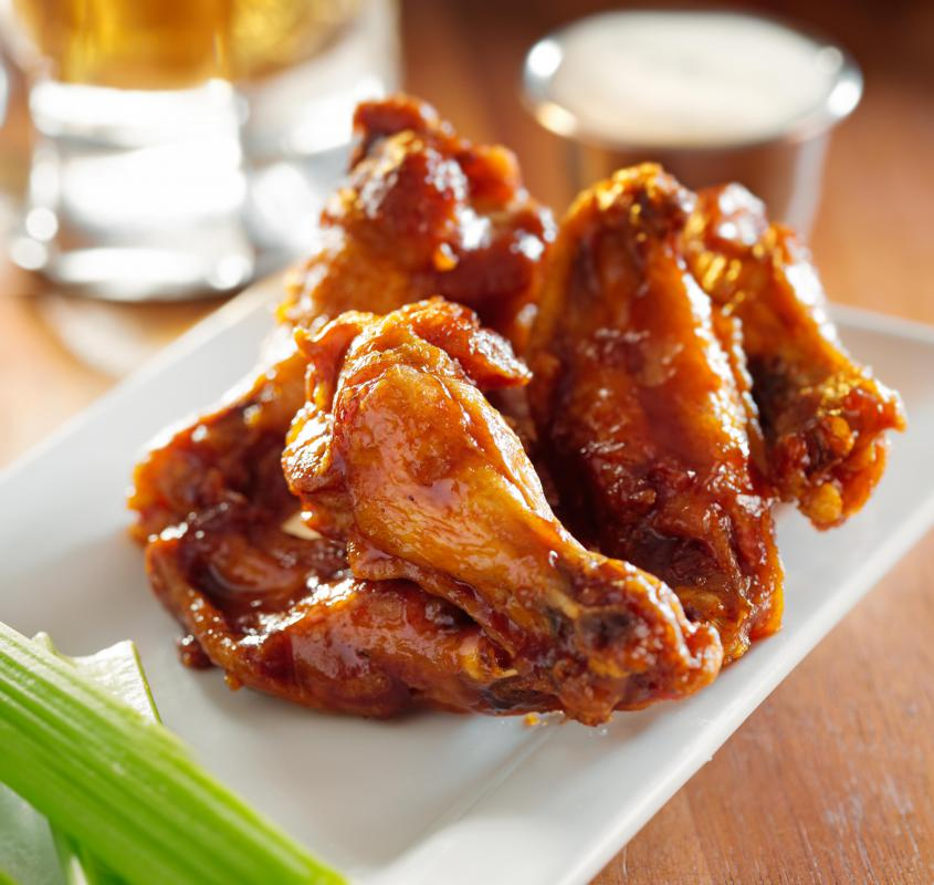 Chicken wings are commonly featured during competitive eating.