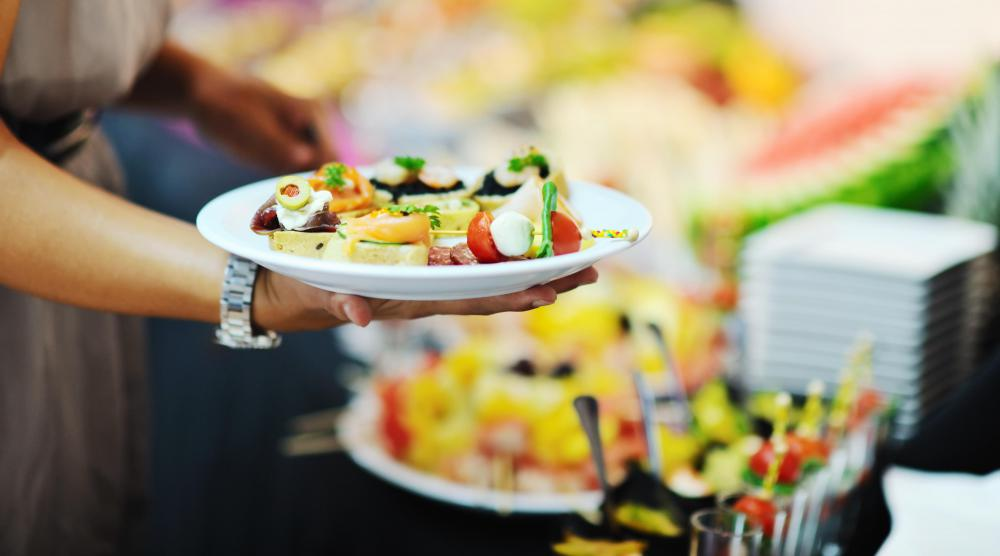Food-borne viruses or bacteria can contaminate foods at a buffet-style restaurant.