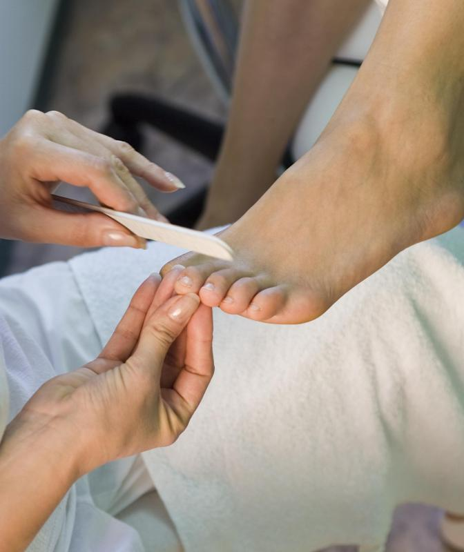 A mini pedicure may be performed to treat nail thickness.