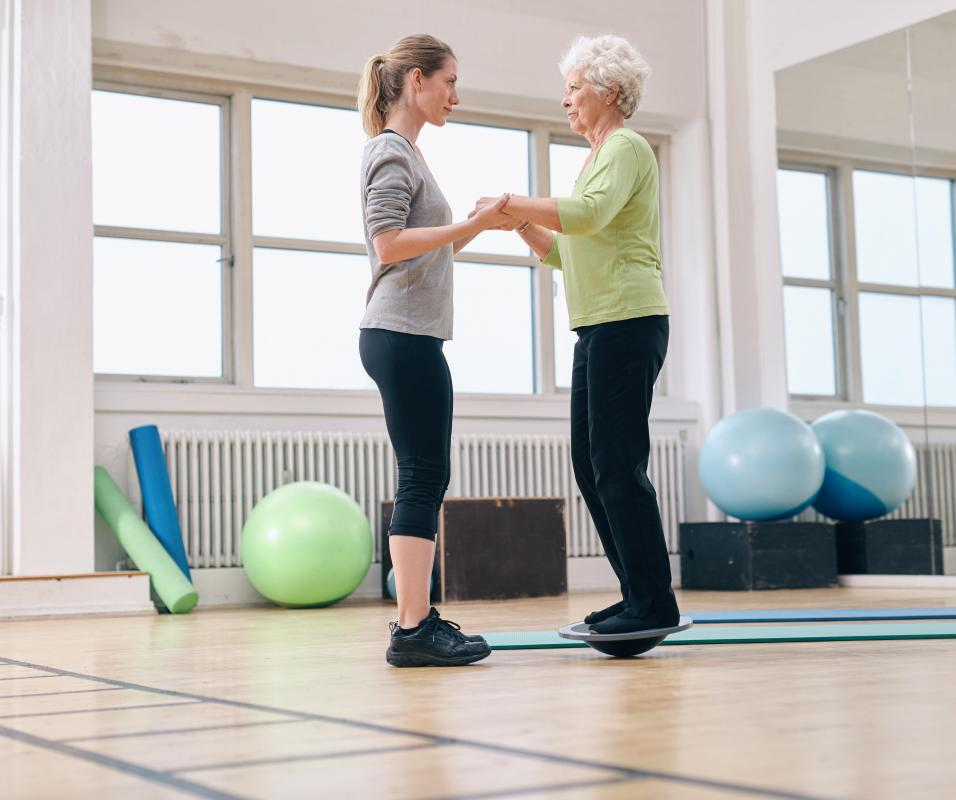 It may be necessary for a patient to re-build her balance skills following injury to the hip joint.