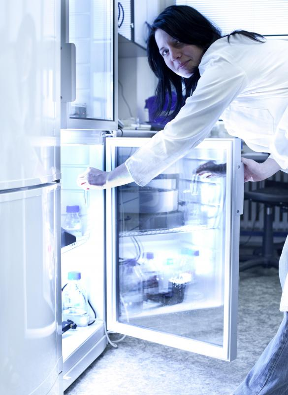 A microbiology lab may contain refrigerators for storing samples.