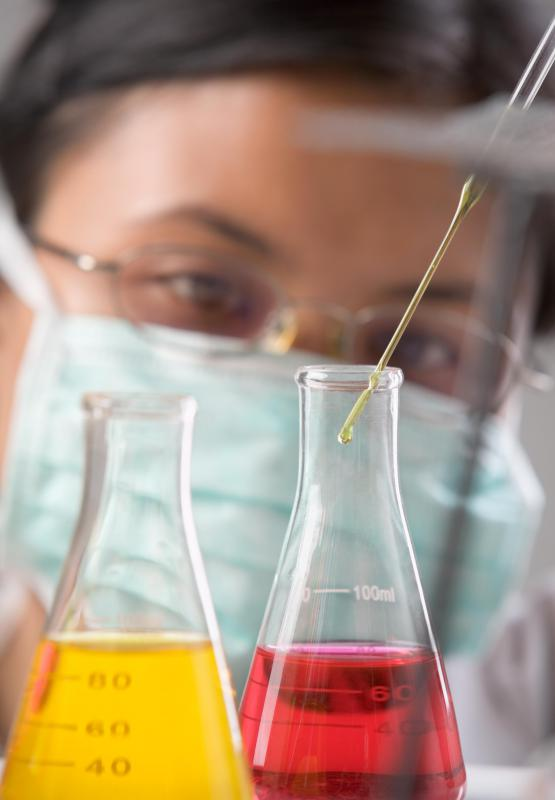 Titration may be performed in chemistry laboratories to analyze the concentration of a solution.