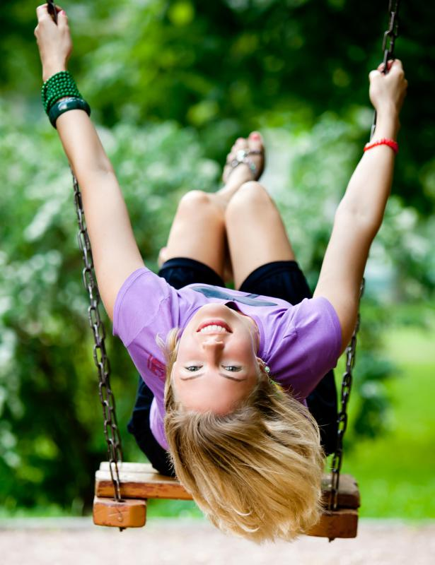 Swinging on a swing is a good example of kinetic energy.