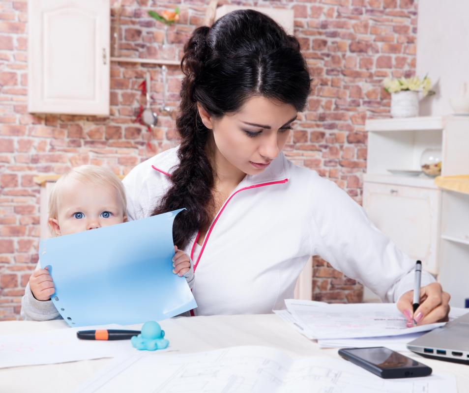 A mompreneur may try to work around her child's nap or school schedule.