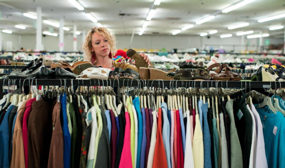 Charity shops often sell donated clothing.