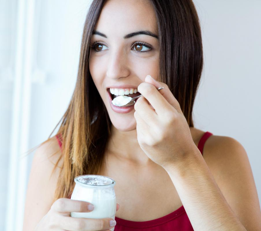 Yogurt contains bacteria such as Lactobacillus bulgaricus and Streptococcus thermophilus.