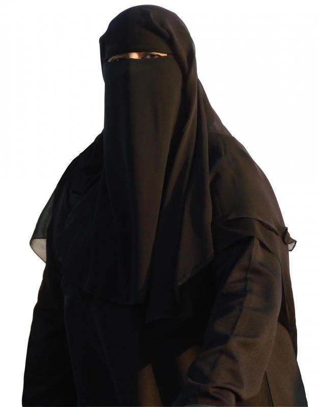 Woman wearing a black niqab -- a different type of facial covering for Muslim women.