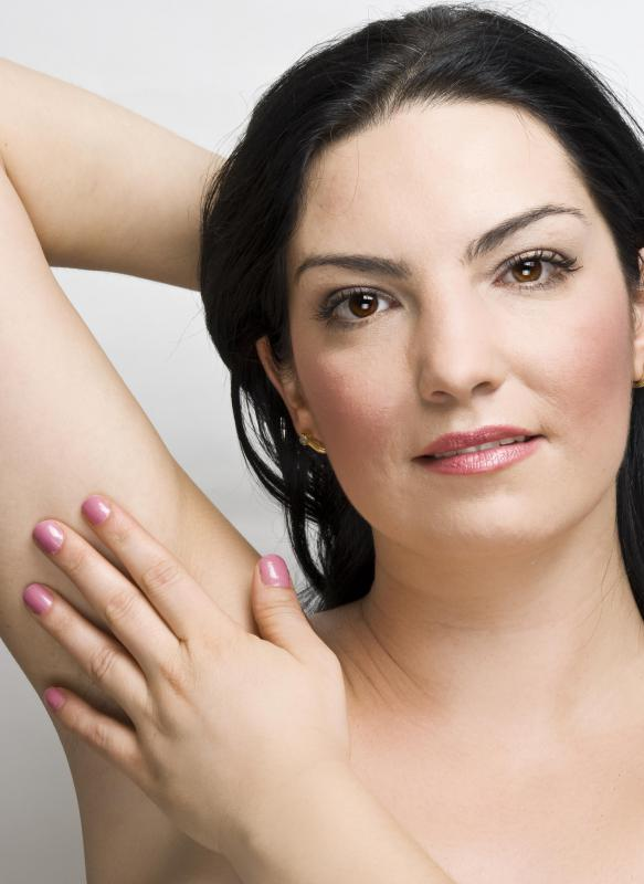 Waxing strips may be used on the underarms.