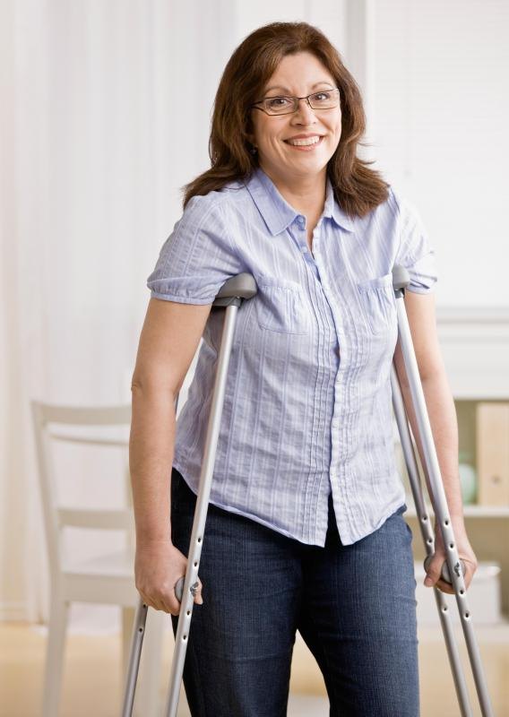 A patient may use crutches to help stay off their leg after a meniscus tear.