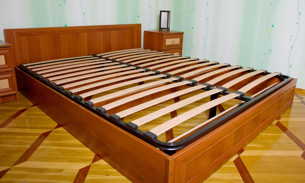 Bed frames can be made of metal or wooden slats.