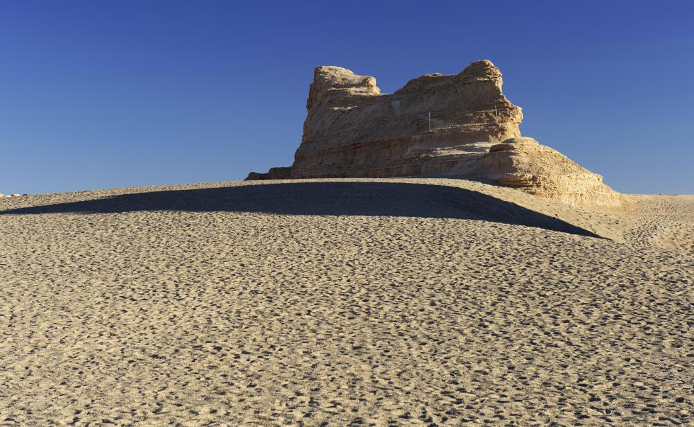Thousands of years of wind erosion shaped rocks into crests and ridges known as yardangs.