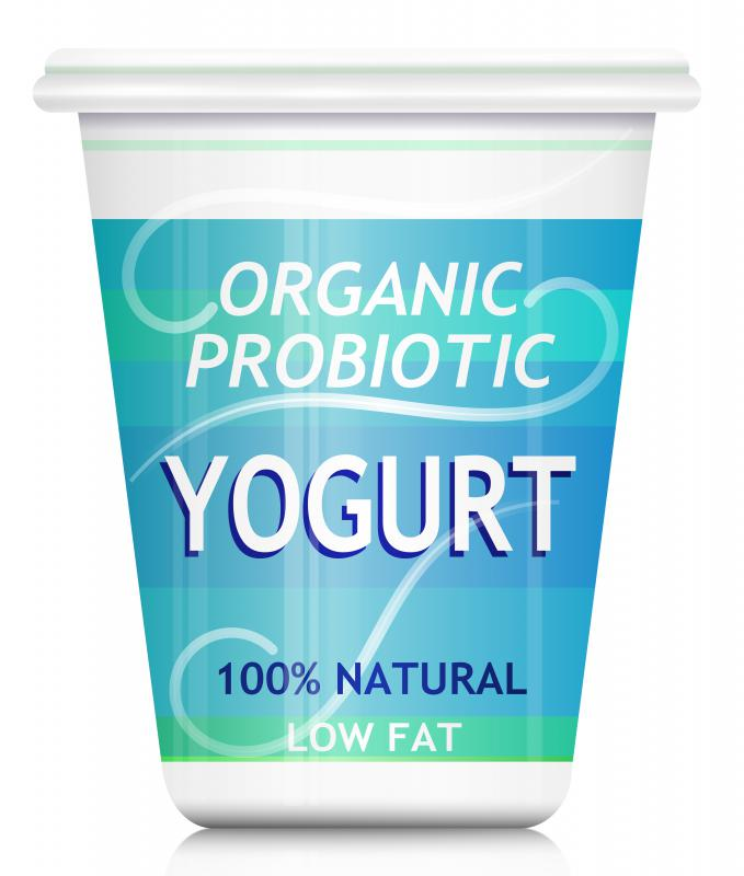 Yogurt with probiotics, a helpful type of bacteria.