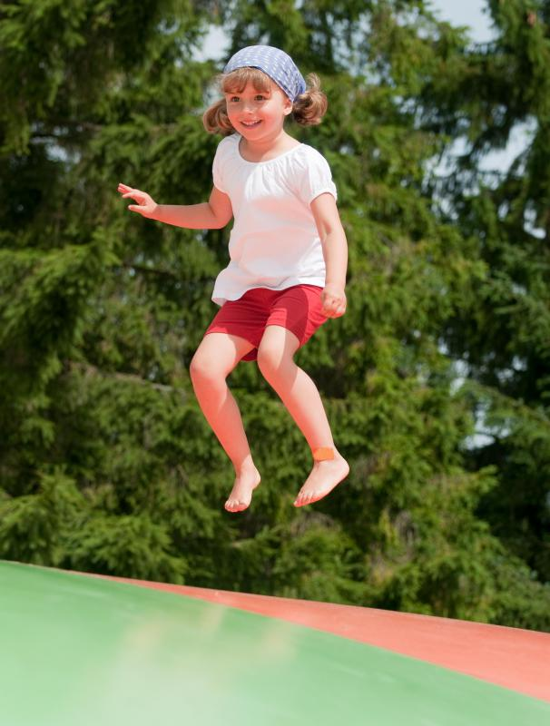 Bouncing on a trampoline requires a certain level of balance.